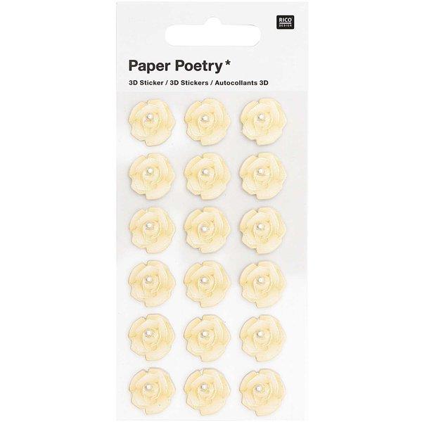 Paper Poetry 3D-Sticker Rosen mit Perle weiß 18 Stück