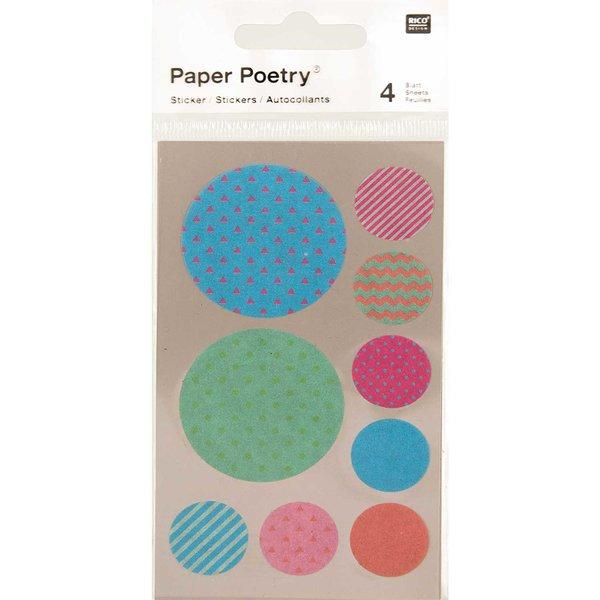 Paper Poetry Washi Sticker mehrfarbig rund 4 Bogen