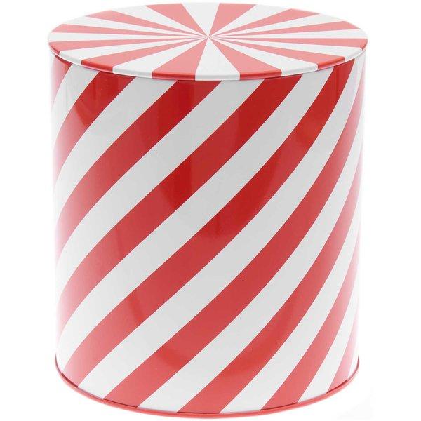 YEY! Let's Party Keksdose Streifen rot-weiß 13,6x15,1cm