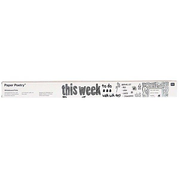 Paper Poetry Whiteboardfolie weiß 200x45cm mit 5 Folienstiften