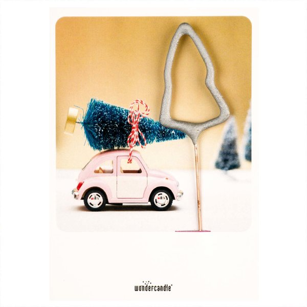 wondercandle Wondercard Mini-Geschenkkarte mit Wunderkerze X-Mas Auto