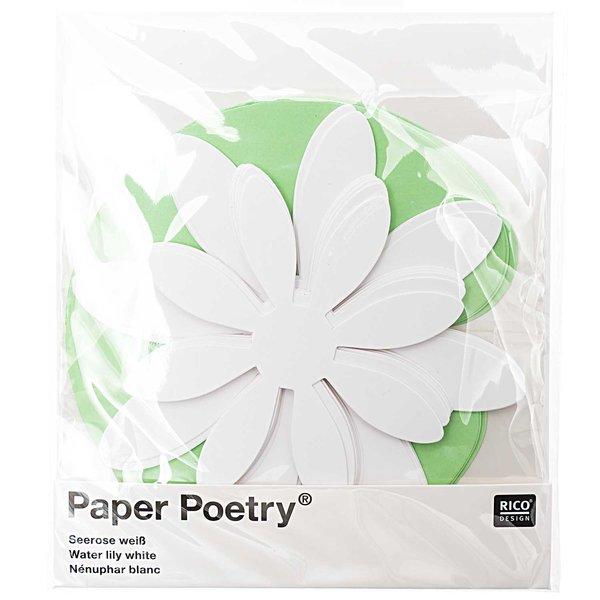 Paper Poetry Bastelset Seerosen weiß für 5 Blüten