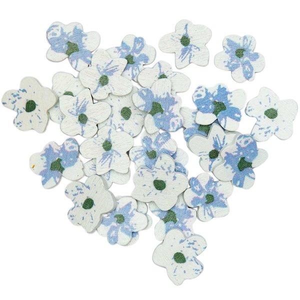 Ohhh! Lovely! Holzstreu Blüten Mix blau 24 Stück