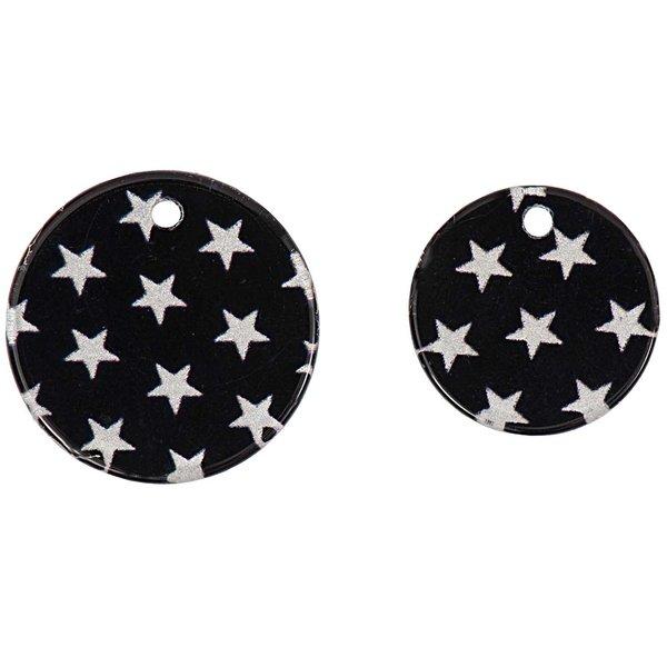 Jewellery Made by Me Aufnähscheiben Sterne schwarz 6 Stück