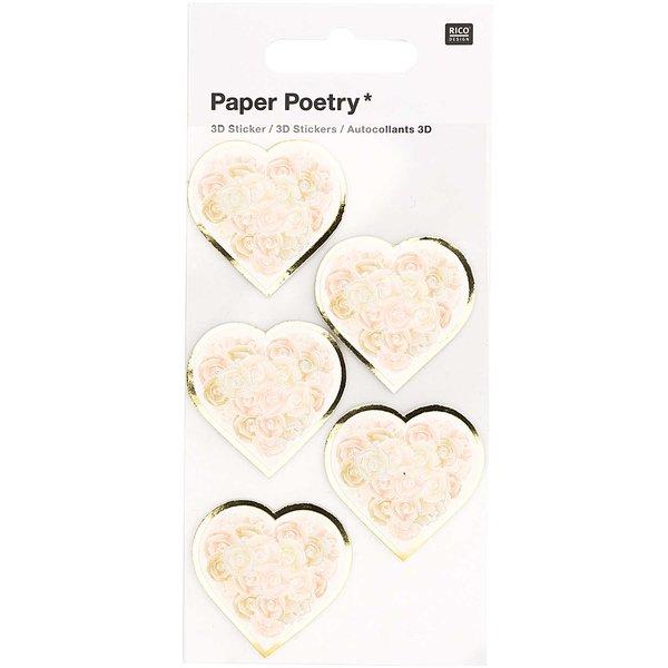 Paper Poetry 3D-Sticker Herzen mit Rosen weiß 5 Stück