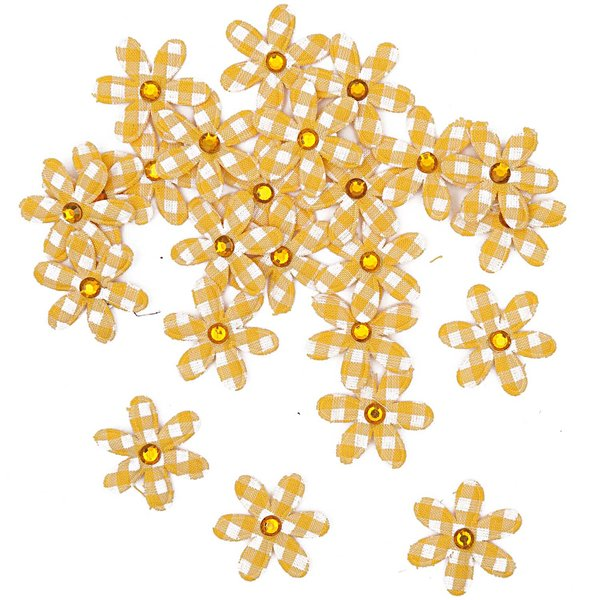 Rico Design Streu Stoffblüte gelb 3,3cm 24 Stück