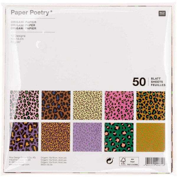 Paper Poetry Origami Acid Leo 15x15cm 50 Blatt
