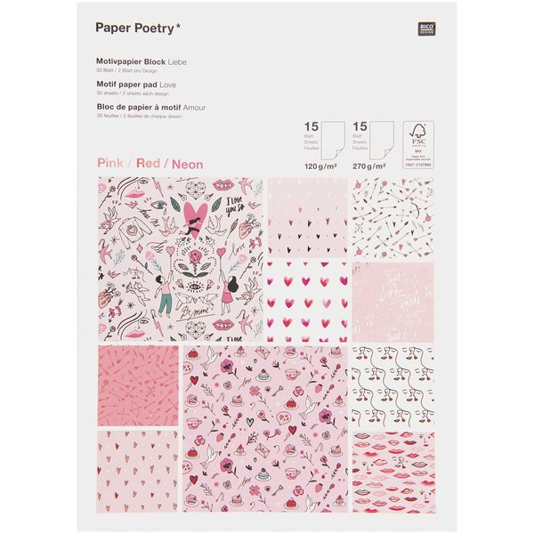 Paper Poetry Motivpapierblock It must be love 30 Blatt