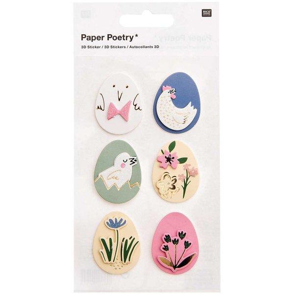 Paper Poetry 3D-Sticker Bunny Hop Ostereier 6 Stück