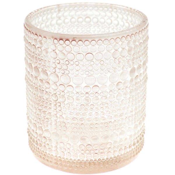 Teelichthhalter aus Glas rosa 8x7cm