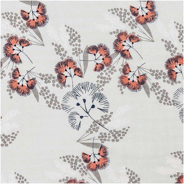 Rico Design Musselin-Druckstoff Jardin Japonais Blumen grau 140cm