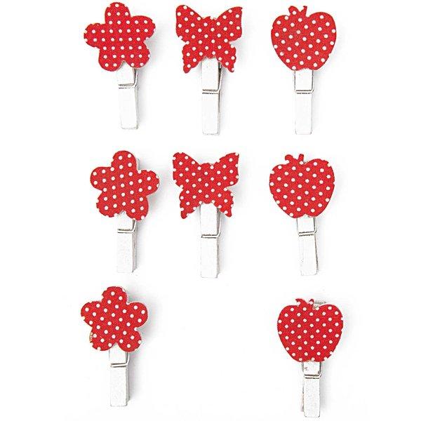 Rico Design Klammer Blume-Apfel-Schmetterling 8 Stück