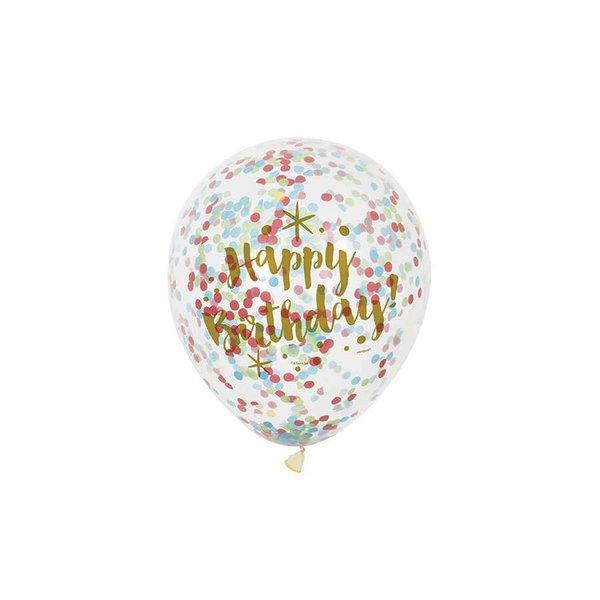 Partystrolche Luftballons Konfetti Happy Birthday 30cm 6 Stück