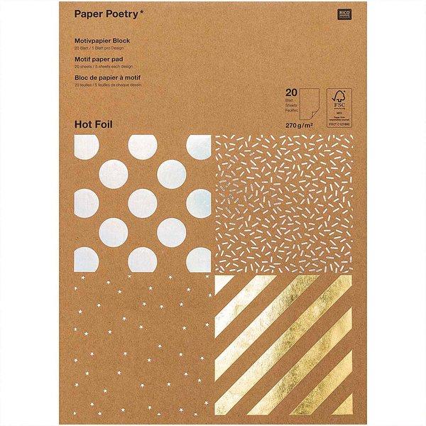 Paper Poetry Kraftpapier Block Streifen 270g/m² 20 Blatt Hot Foil