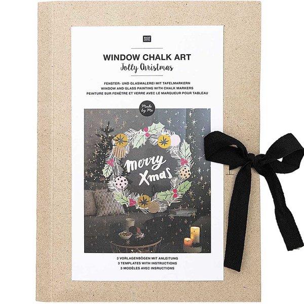 Rico Design Vorlagenmappe Fenster- und Glasmalerei mit Kreidestiften Jolly Christmas