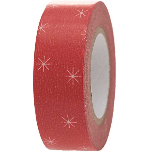 Paper Poetry Tape Schneeflocken rot 1,5cm 10m