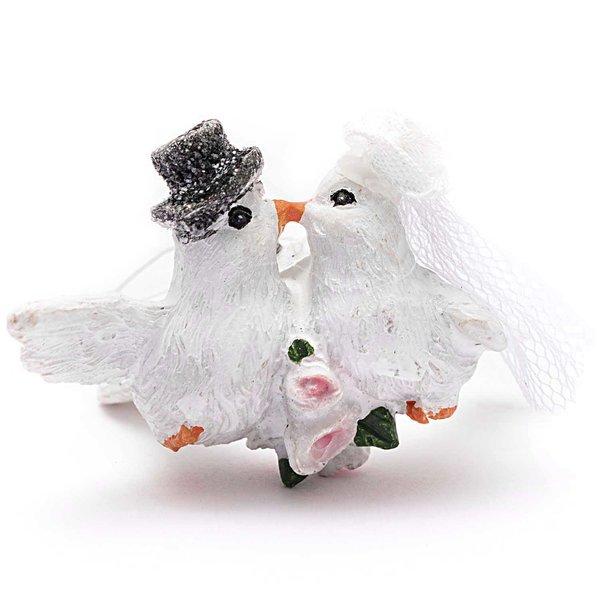 Taubenpaar zum Hängen weiß 5cm Polyresin