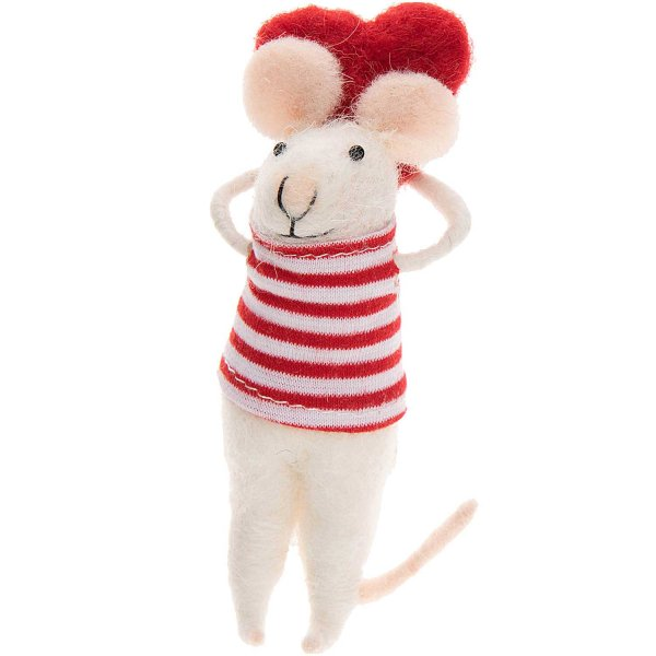 Deko-Maus aus Filz mit Herz am Rücken 11cm