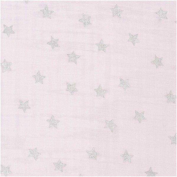Rico Design Musselin-Druckstoff Nostalgic Christmas Sterne rosa-metallic 140cm