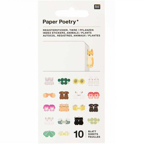Paper Poetry Stickerbuch Register Tiere 10 Blatt