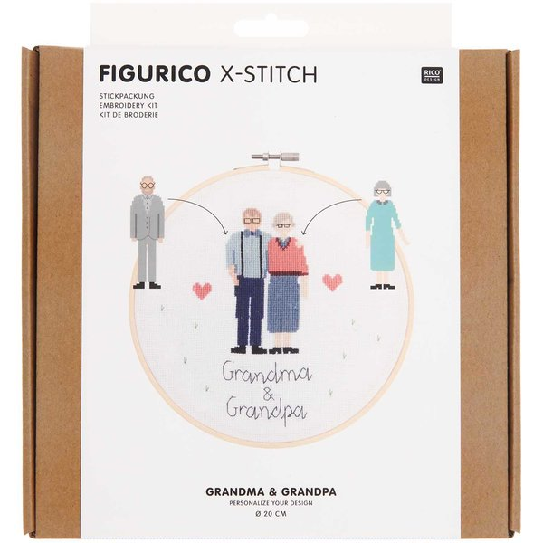 Rico Design Figurico Stickpackung Grandma & Grandpa 20cm