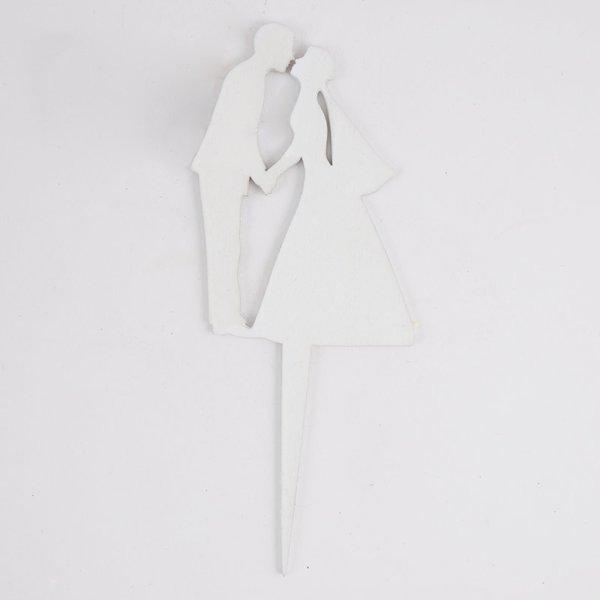 Pick Brautpaarsilhouette weiß 18cm Holz