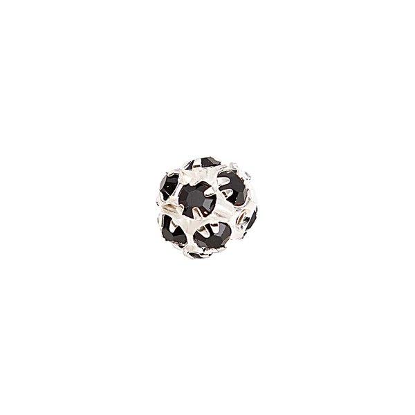Rico Design Strassperle silber-schwarz 8mm 3 Stück