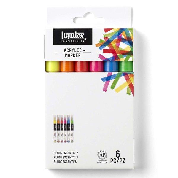 Liquitex Paint Acryl Marker Fluo-Set fein 6 Stück