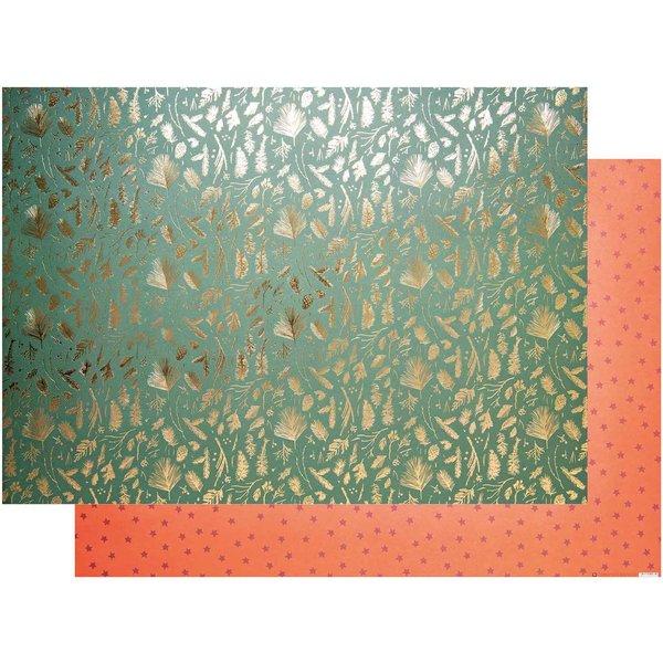 Paper Poetry Motivkarton Nostalgic Christmas Zweige grün-gold 50x70cm