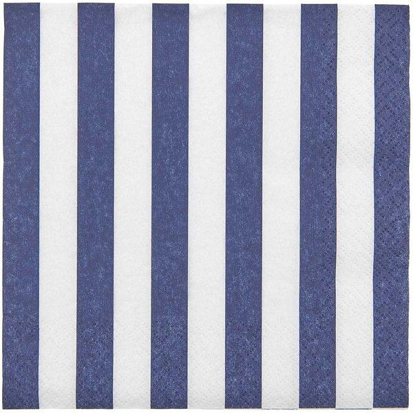 YEY! Let's Party Servietten blau-weiß gestreift 33x33cm 20 Stück