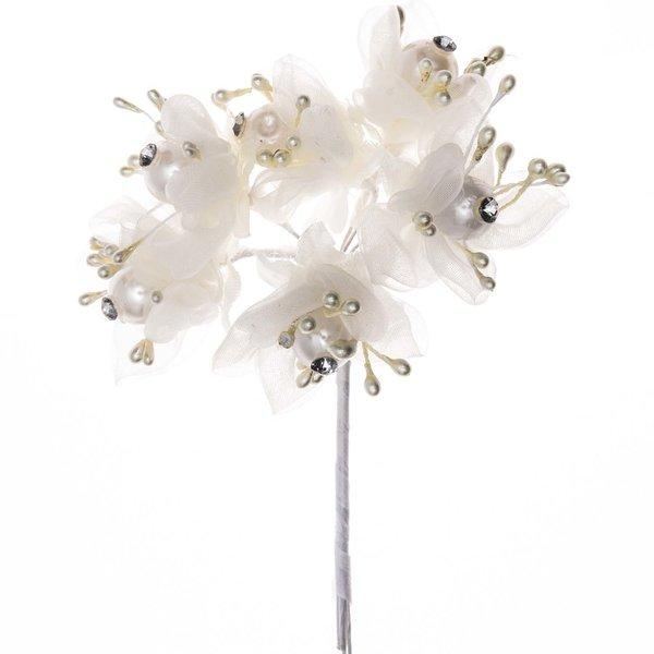 Blüten mit Perlen und Strass Organza creme 6 Stück