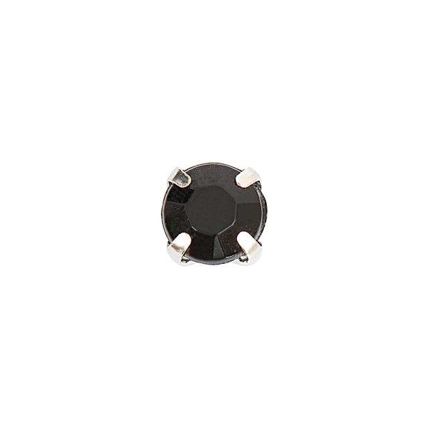 Jewellery Made by Me Aufnähsteine gefasst schwarz rund 6x6x5mm 20 Stück