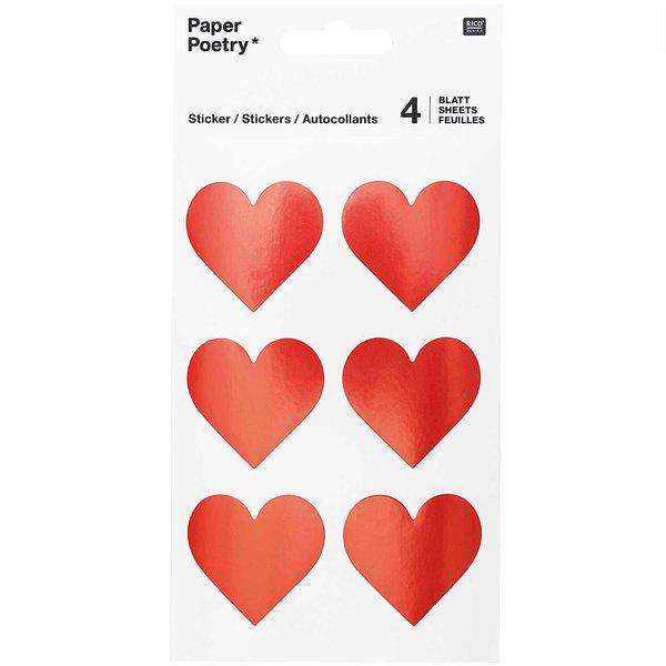 Paper Poetry Sticker Herzen rot 24 Stück