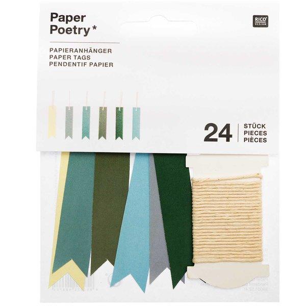 Paper Poetry Papieranhänger Fähnchen grün 1,5x6,5cm 24 Stück