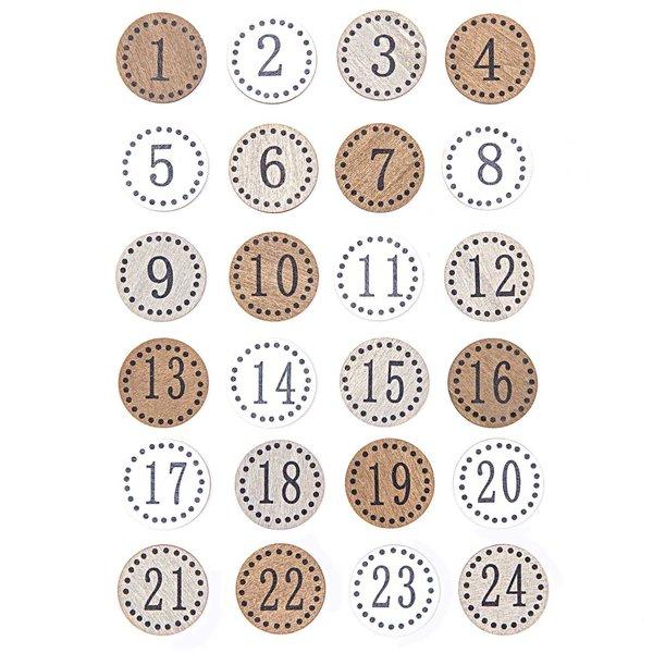Adventskalender Zahlen rund natur Holz 24 Stück