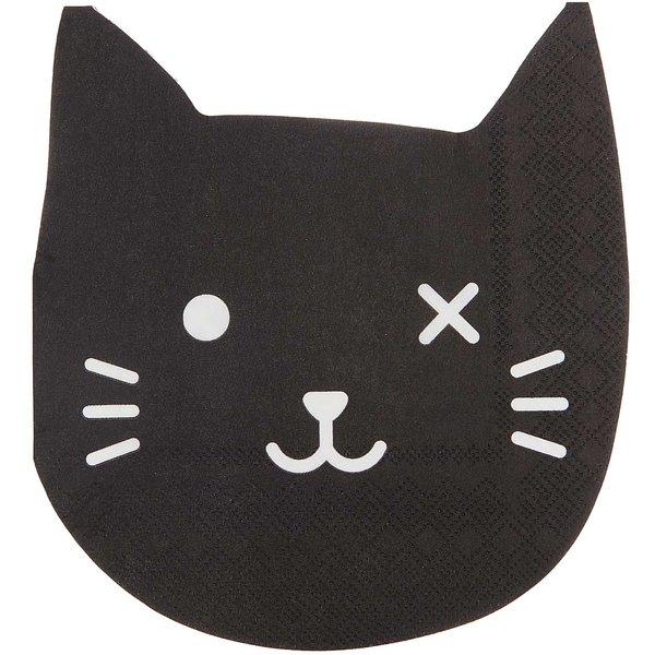 YEY! Let's Party Servietten Katze schwarz 33x33cm 20 Stück