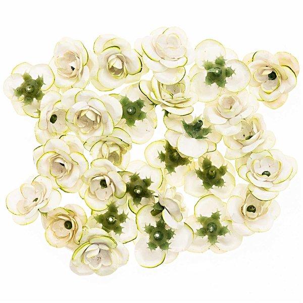 Rosenköpfe weiß-grün 28 Stück