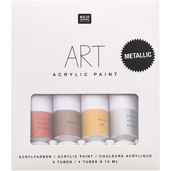 Rico Design ART Künstler Acrylfarben-Set Celebration Metallic-Farben 4x12ml