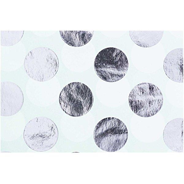 Paper Poetry Seidenpapier mint Punkte silber 70x50cm 4 Bogen Hot Foil