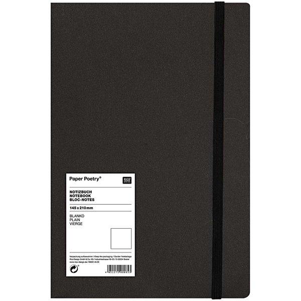 Paper Poetry Notizbuch weiß A5 schwarz blanko