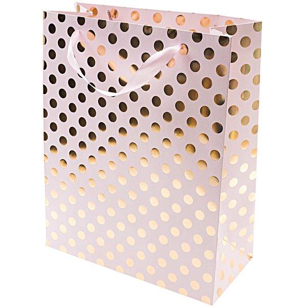 Rico Design Geschenktüte rosa Punkte gold 26x32x12cm