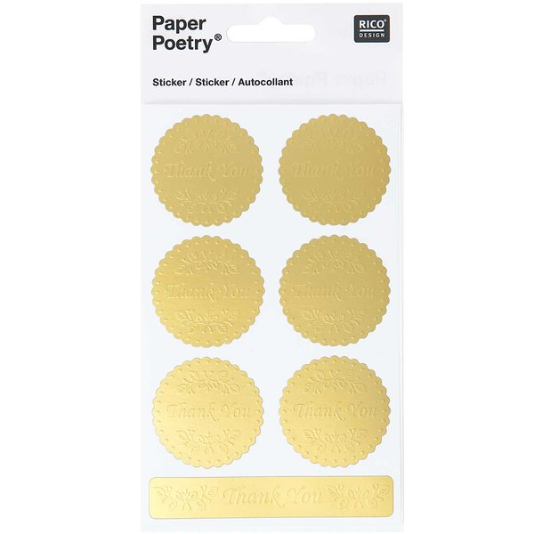 Paper Poetry Sticker Thank you gold