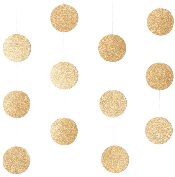 YEY! Let's Party Genähte Girlande Kreise 8cm Glitter-gold 1,7m