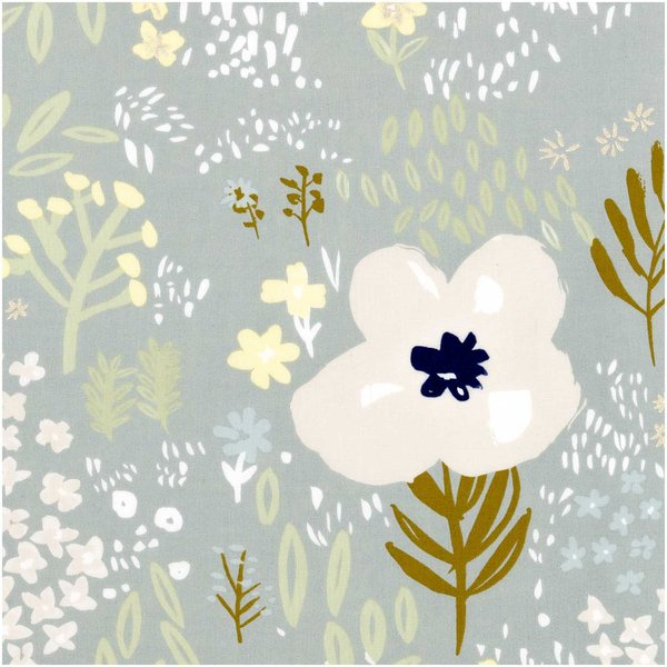 Rico Design Druckstoff Crafted Nature Blumen grau metallic 140cm