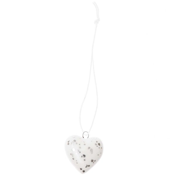 Ohhh! Lovely! Porzellanhänger Herz weiß-silber
