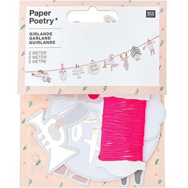 Paper Poetry Girlande Jolly Christmas pastell 2m