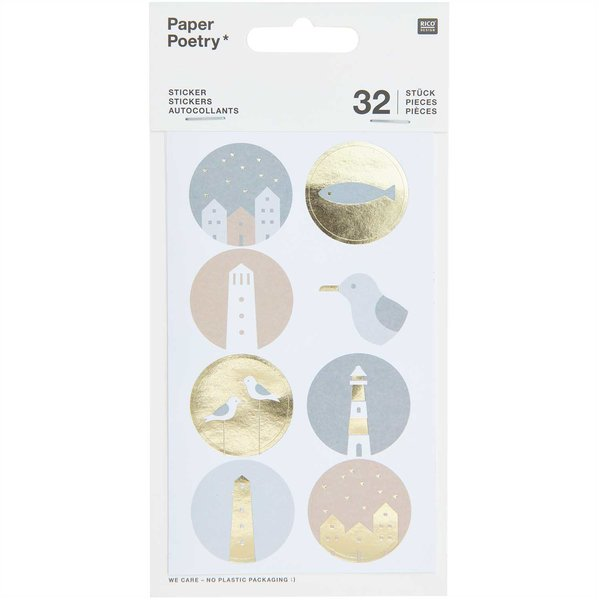 Paper Poetry Sticker Möwen & Muscheln 4 Blatt