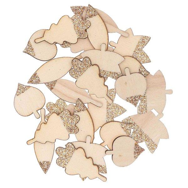 Ohhh! Lovely! Holzstreu Blätter Mix mit Glitter natur-roségold 48 Stück