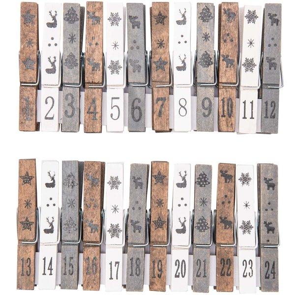 Adventskalender Zahlen Klammern braun-creme-grau 24 Stück