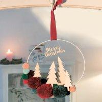 Anleitung Weihnachtlicher Pompon-Kranz